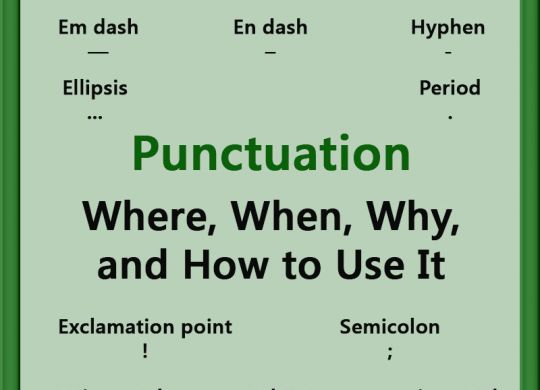 Punctuation. Where, when, why, and how to use it. Apostrophe, colon, comma, em dash, en dash, ellipsis, hyphen, period, question mark, exclamation mark, parentheses, quotation mark, semicolon.